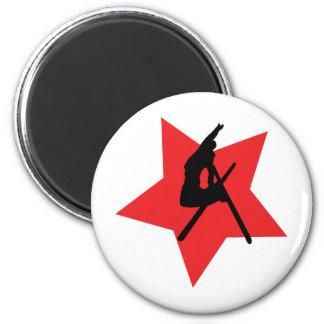 red ski jump icon fridge magnets