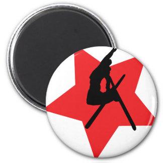 red ski jump icon 6 cm round magnet