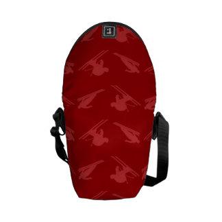 Red ski pattern messenger bags