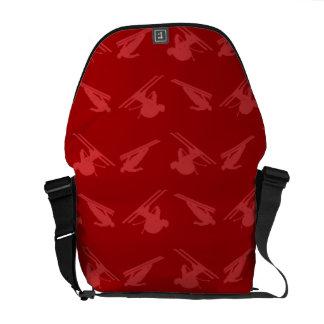 Red ski pattern courier bag