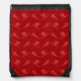 Red ski pattern drawstring backpack