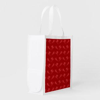 Red ski pattern grocery bag