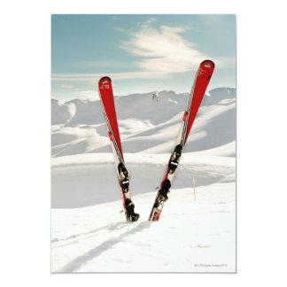 Red Skis 13 Cm X 18 Cm Invitation Card