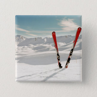 Red Skis 15 Cm Square Badge