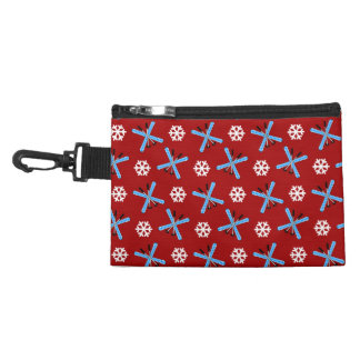 red skis and snowflakes pattern accessory bag