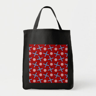 red skis and snowflakes pattern bag