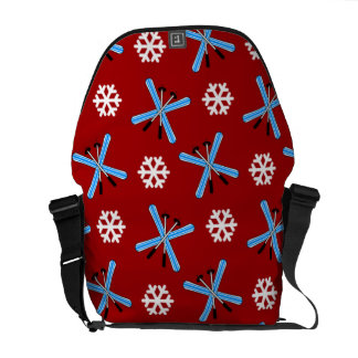 red skis and snowflakes pattern messenger bags