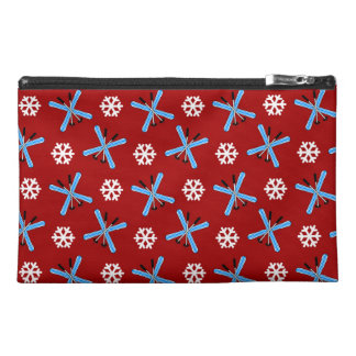 red skis and snowflakes pattern travel accessories bags