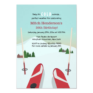 Red Skis Invitation