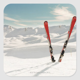 Red Skis Square Sticker