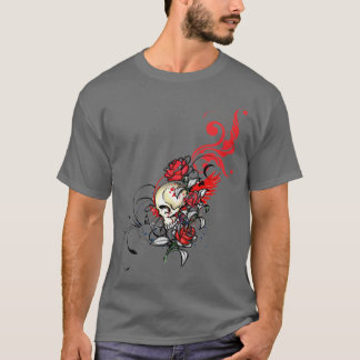 Red Skull and Roses T-Shirt