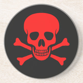 Red Skull & Crossbones Coaster