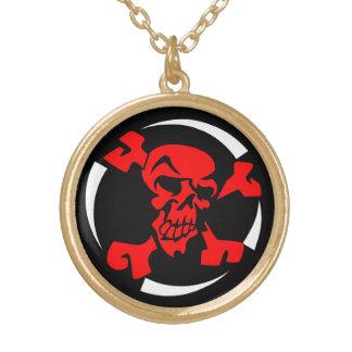 Red Skull Crossbones Necklace