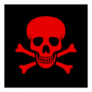 Red Skull Crossbones Poster