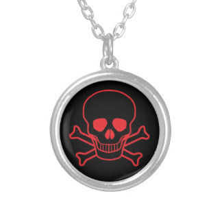 Red Skull & Crossbones Round Silver Plated Necklac Round Pendant Necklace