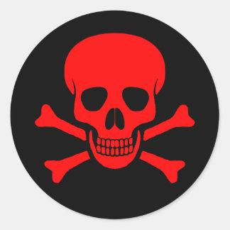 Red Skull Crossbones Sticker