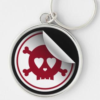 Red Skull Heart Eyes Key Chain