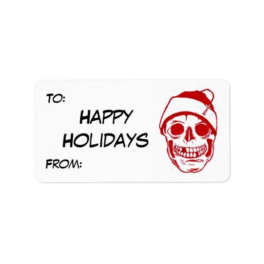 Red Skull In Santa Hat Address Label