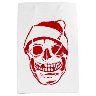 Red Skull In Santa Hat Medium Gift Bag