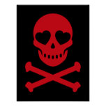 Red Skull with Hearts Poster