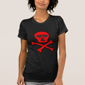 red skullncrossbones heartified dark t shirt