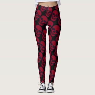 Red Skulls on Black Leggings