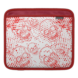 Red skulls with bloody splashes iPad sleeve
