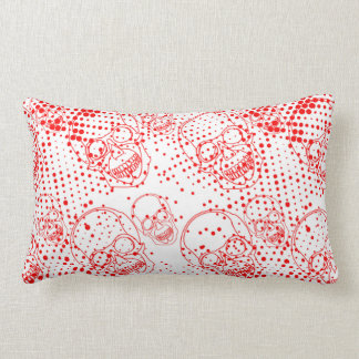 Red skulls with bloody splashes lumbar pillow