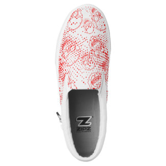Red skulls with bloody splashes slip on shoes