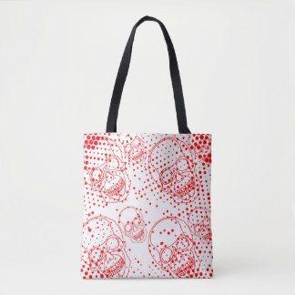 Red skulls with bloody splashes tote bag