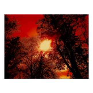 Red Sky And The Burning Sun Poster