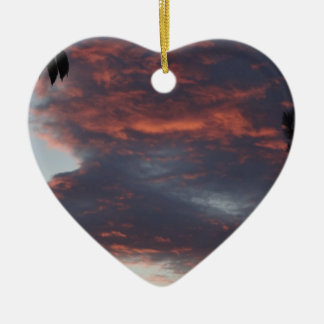 red sky at night ceramic heart decoration