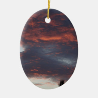 red sky at night ceramic oval decoration