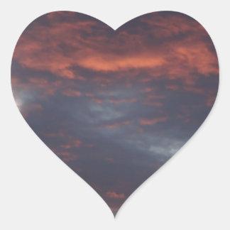 red sky at night heart sticker