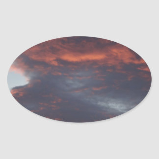 red sky at night oval sticker