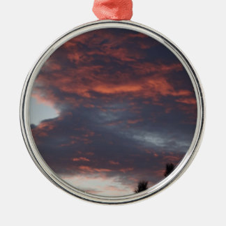 red sky at night Silver-Colored round decoration