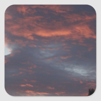 red sky at night square sticker
