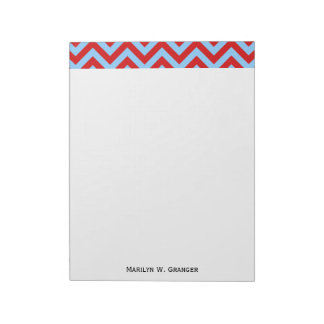 Red, Sky Blue Large Chevron ZigZag Pattern Notepad