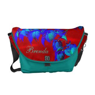 Red Sky Blue N Teal Leaves Messenger Bag