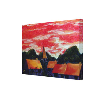 red sky blue village canvas print