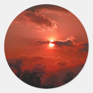 Red Sky @ Night Classic Round Sticker
