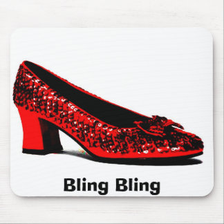 red slippers, Bling Bling Mouse Mat