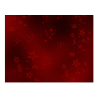red,small delicate Asian flowers on a festive Postcard