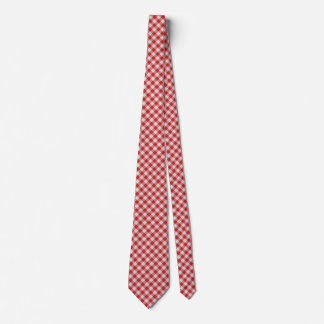 Red Small Gingham Check - Diagonal Pattern Tie