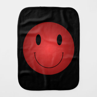 Red Smiley Burp Cloths