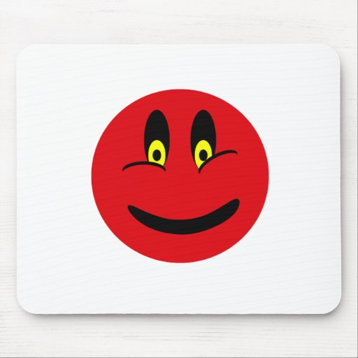 Red Smiley Face Mouse Pads