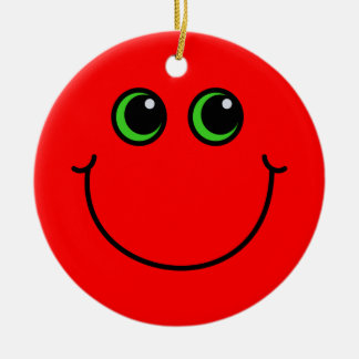 Red Smiley Face Round Ceramic Decoration