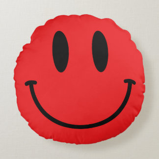 Red Smiley Face Round Throw Pillow