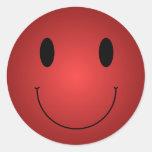 Red Smiley Round Sticker