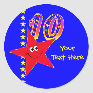 Red Smiley Star 10th Birthday Stickers